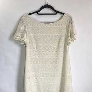 ✨London Times Crochet Off-White Mini Dress✨